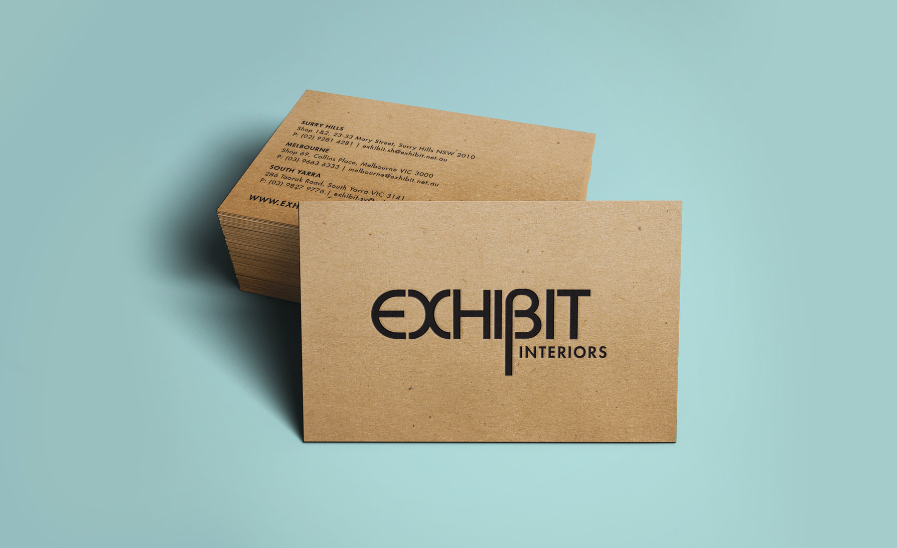 Exhibit interiors bvn creative furniture and homewares retailer exhibit interiors required a simple business card with texture we selected a brown recycled kraft paper that looks reheart Image collections
